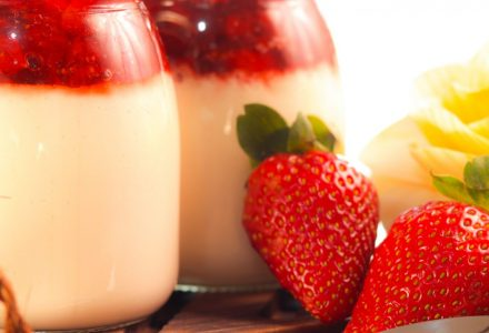 Coconut Panna Cotta with Fresh Strawberry Sauce