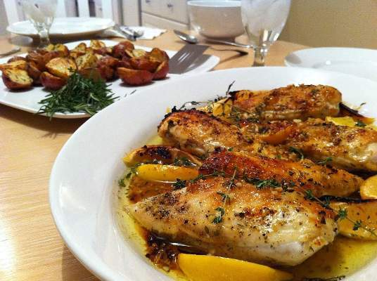 Roast Chicken with Two Lemons