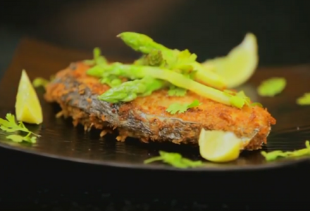 Pan Fried Crumbed Surmai With Asparagus