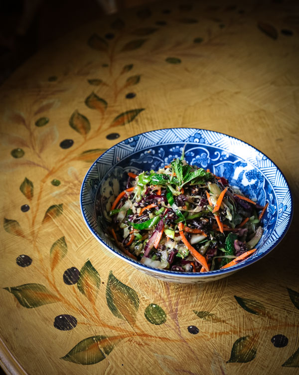 Pressed Cabbage Salad with Ginger Miso Dressing