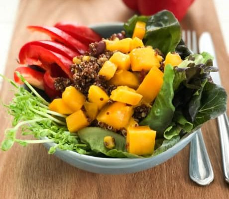 Quinoa Salad with Mango, Sprouts, Nuts and Berries